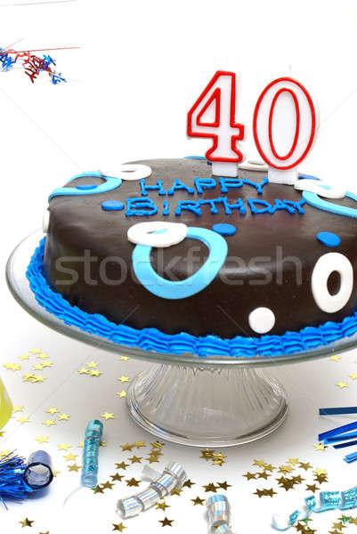 Nagy 40 születésnapi torta valaki boldog születésnap Stock fotó © AlphaBaby