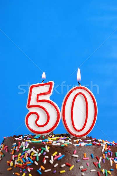 Cinqüenta anos número vela celebração Foto stock © AlphaBaby