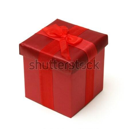 Kırmızı hediye kutusu yalıtılmış atış özel gün düğün Stok fotoğraf © AlphaBaby