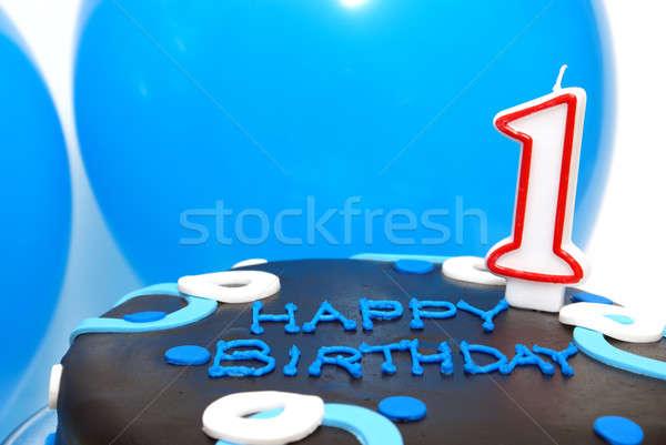 Um ano celebração bolo decorado azul Foto stock © AlphaBaby