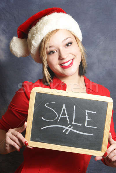 Christmas verkoop aantrekkelijk jonge vrouw teken seizoen Stockfoto © AlphaBaby