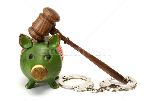 Foto stock: Legal · despesas · porco · banco · algemas · despesa
