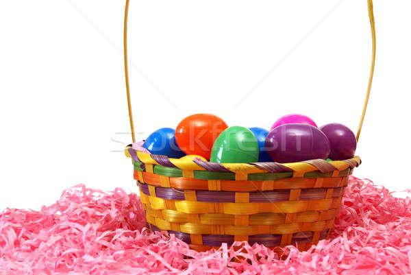 Pasen mand eieren roze papier voorjaar Stockfoto © AlphaBaby