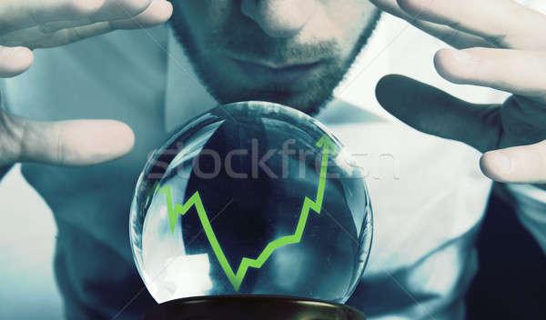 Finansal kriz cam işadamı işçi finanse gelecek Stok fotoğraf © alphaspirit