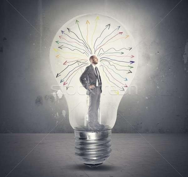 Gênio empresário cérebro energia pensando Foto stock © alphaspirit