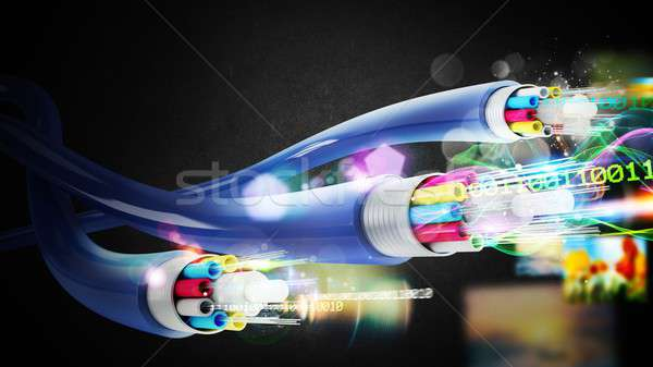 Connection with the optical fiber Stock photo © alphaspirit
