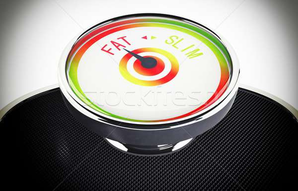 Kövér súly egyensúly szó mérleg törődés Stock fotó © alphaspirit
