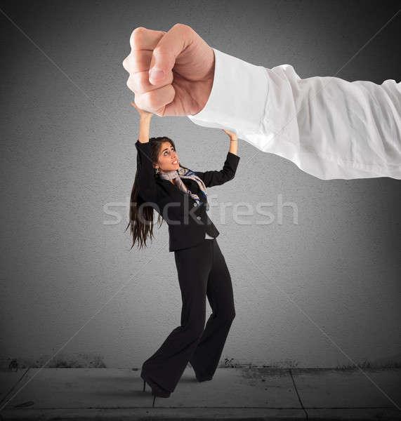 Hevig man groot bange klein vrouw Stockfoto © alphaspirit