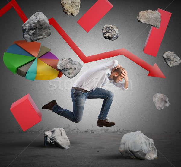 ストックフォト: ビジネスマン · 危機 · を実行して · 困難 · 経済の · ビジネス
