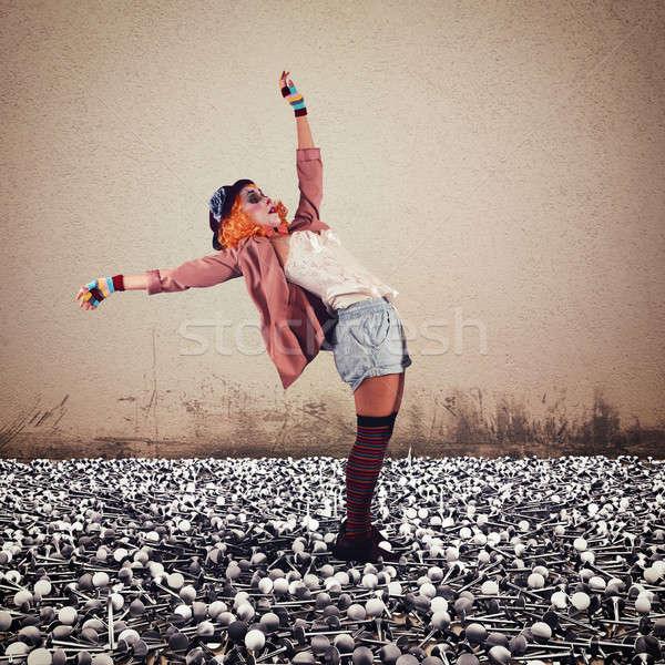 Clown on nails Stock photo © alphaspirit