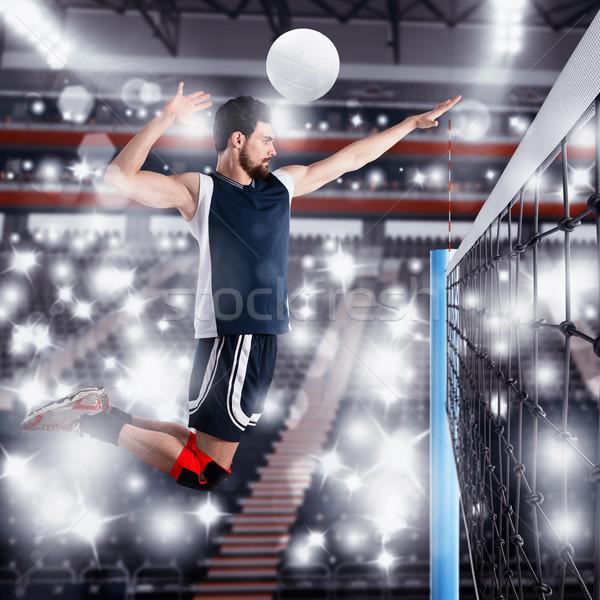 Speler bal volleybal man opleiding spelen Stockfoto © alphaspirit