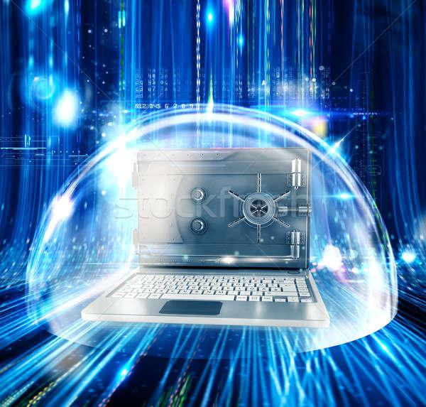 コンピュータ 安全 3D レンダリング コンピュータの画面 ストックフォト © alphaspirit