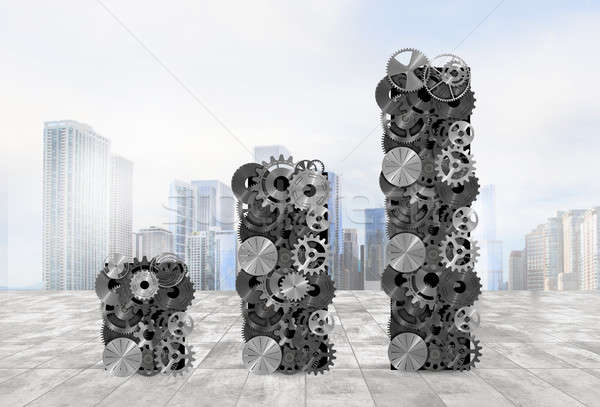 Statistical analysis with mechanical systems. 3d rendering Stock photo © alphaspirit