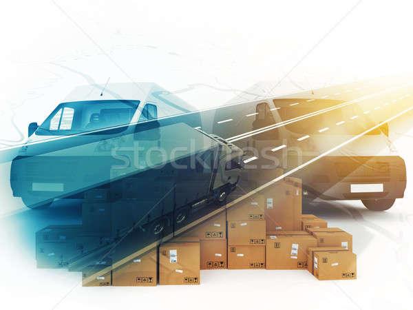 Concept of box distribution system. 3D Rendering Stock photo © alphaspirit