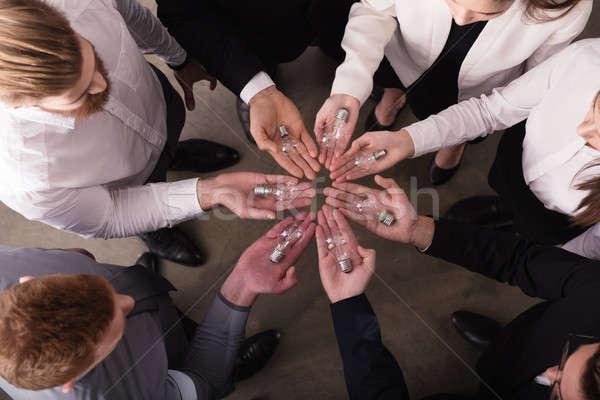 команде мозговая атака бизнесменов Идея лампы начала Сток-фото © alphaspirit