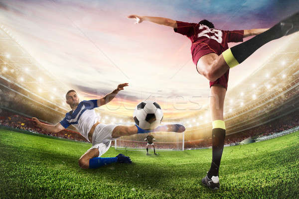 Football balle acrobatique coup 3D Photo stock © alphaspirit