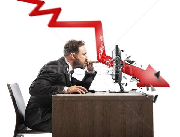 Affaires Rechercher négatifs rapport société rouge Photo stock © alphaspirit