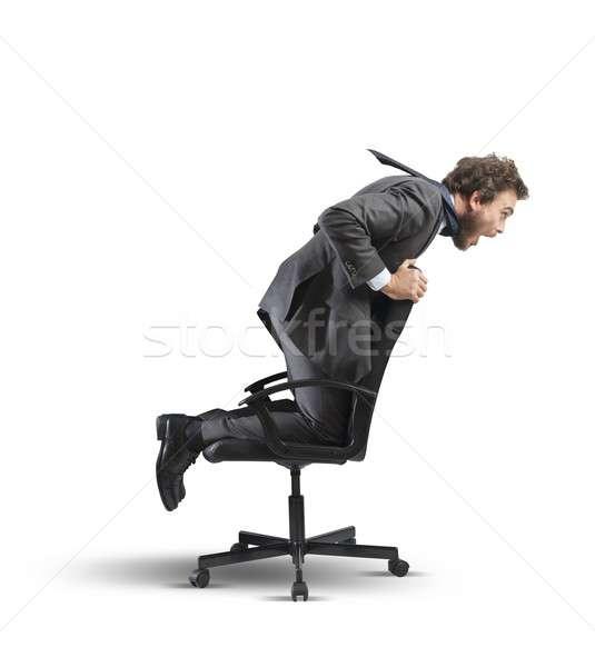 Crisis financiële moeilijkheid zakenman stoel business Stockfoto © alphaspirit