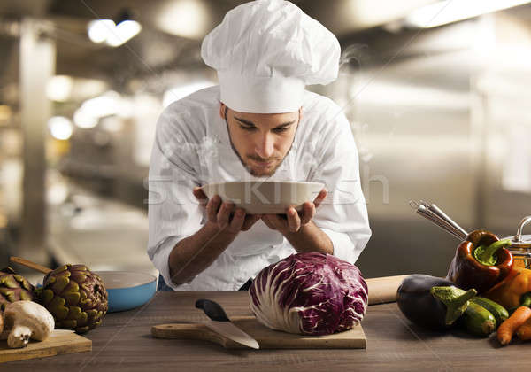 Aroma schotel chef restaurant keuken voedsel Stockfoto © alphaspirit