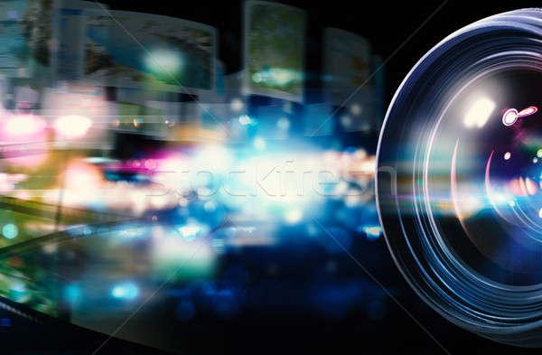 Professionele lens reflex camera lichteffecten Stockfoto © alphaspirit