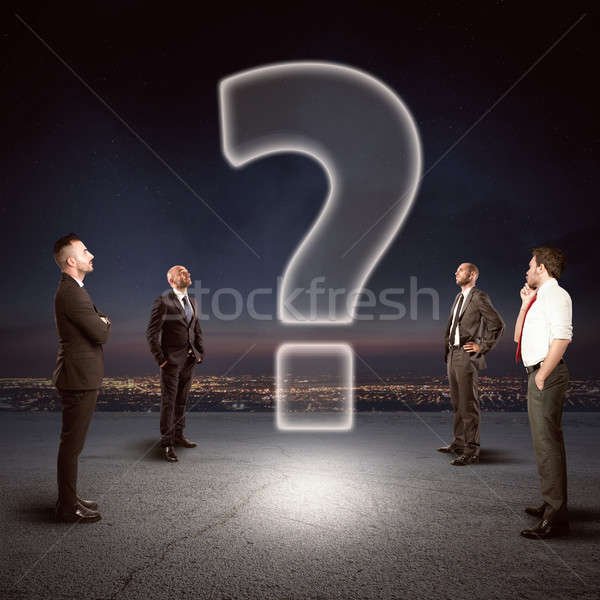 Team with a big question to be solved Stock photo © alphaspirit