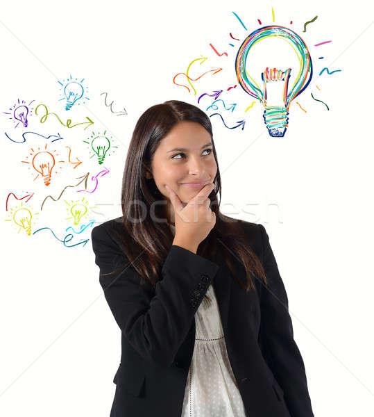 Briljant idee veel ideeën zakenvrouw werk Stockfoto © alphaspirit