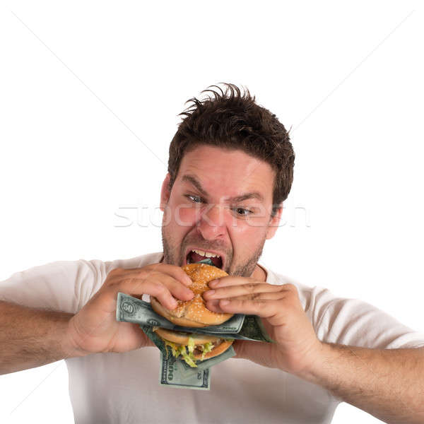 жадный жира бизнесмен сэндвич обеда Сток-фото © alphaspirit