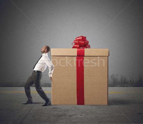 üzletember ajándék fáradt nehéz nagyszerű ajándék Stock fotó © alphaspirit