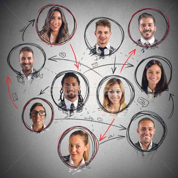 Foto stock: Red · social · conexión · hombres · mujeres · cara · trabajo