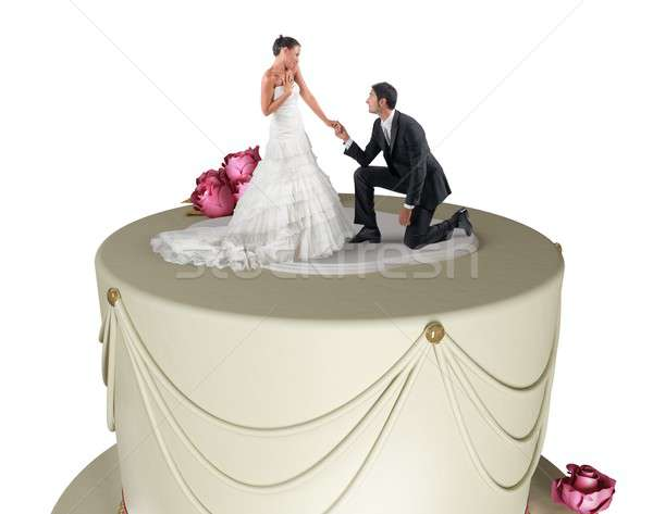 Funny wedding cake Stock photo © alphaspirit