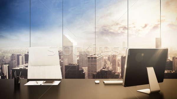 Bureau gestion luxueux vue cityscape bâtiment Photo stock © alphaspirit