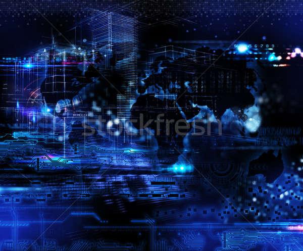Futurista tecnología global Internet conexión transmisión Foto stock © alphaspirit