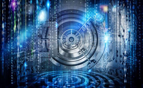 Internet biztonság kapcsolat széf futurisztikus számítógép Stock fotó © alphaspirit