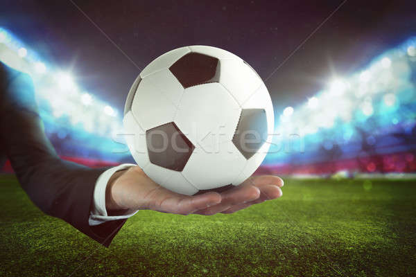 Sport futballabda kéz üzletember stadion korrupció Stock fotó © alphaspirit