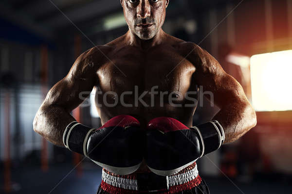 Boxer ready to fight at the gym Stock photo © alphaspirit