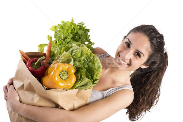 Bio winkelen meisje super markt glimlachend Stockfoto © alphaspirit