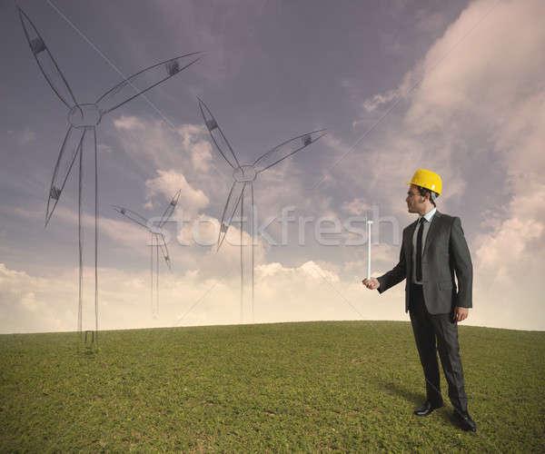 ветровой турбины энергии проект бизнесмен планов природы Сток-фото © alphaspirit