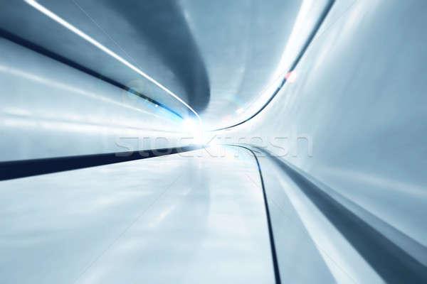 Futuristico tunnel grande luci sfondo acciaio Foto d'archivio © alphaspirit