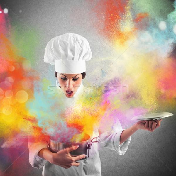 Explosie kleuren keuken verbazingwekkend voedsel restaurant Stockfoto © alphaspirit