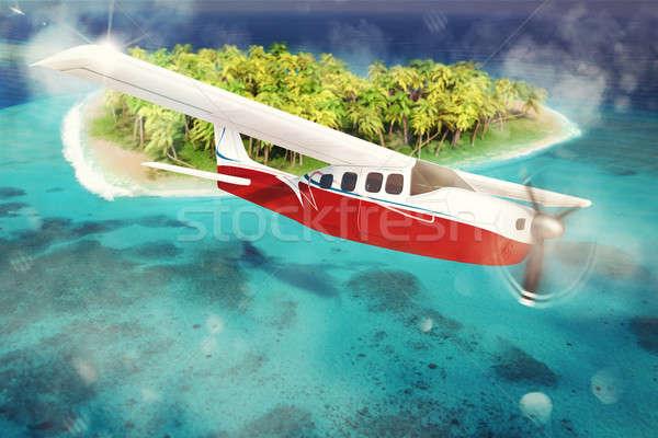 3D coeur avion plage mariage Photo stock © alphaspirit