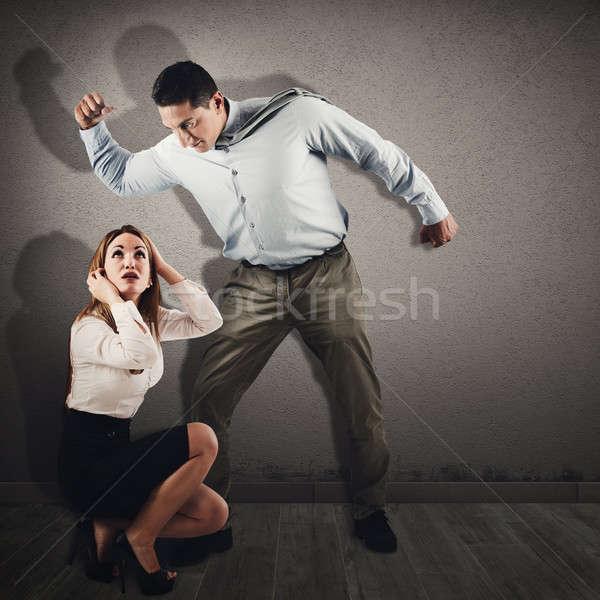 насилия женщины насильственный сердиться человека испуганный Сток-фото © alphaspirit
