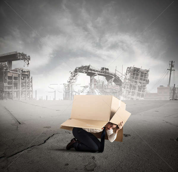 Afraid businessman during crisis Stock photo © alphaspirit