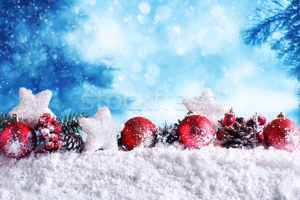 Red Christmas balls with stars and garlands Stock photo © alphaspirit