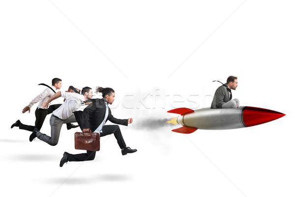 Foto stock: Sucesso · 3D · empresário · voar · foguete