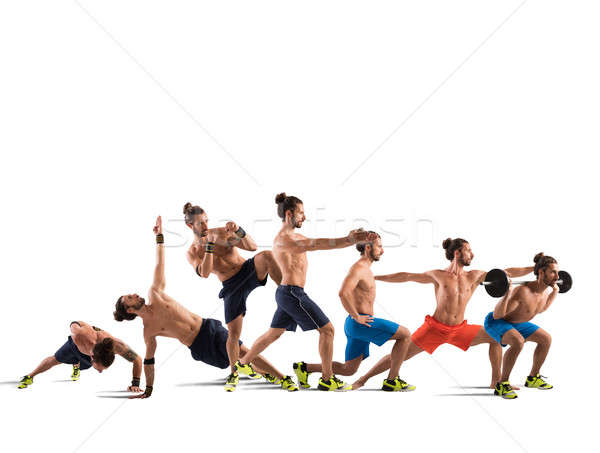 Pilates fitness training man posities Stockfoto © alphaspirit