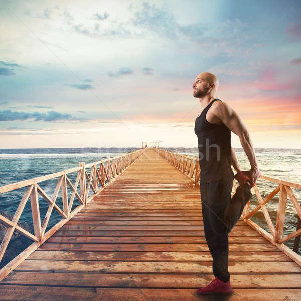 Gimnastyka molo wygaśnięcia morza krajobraz Zdjęcia stock © alphaspirit