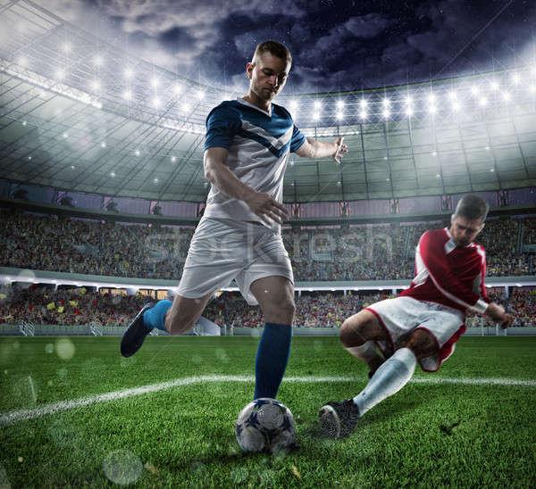 Piłka nożna scena gracze stadion działania Zdjęcia stock © alphaspirit