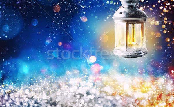 Сток-фото: фонарь · Рождества · ночь · свет · эффект
