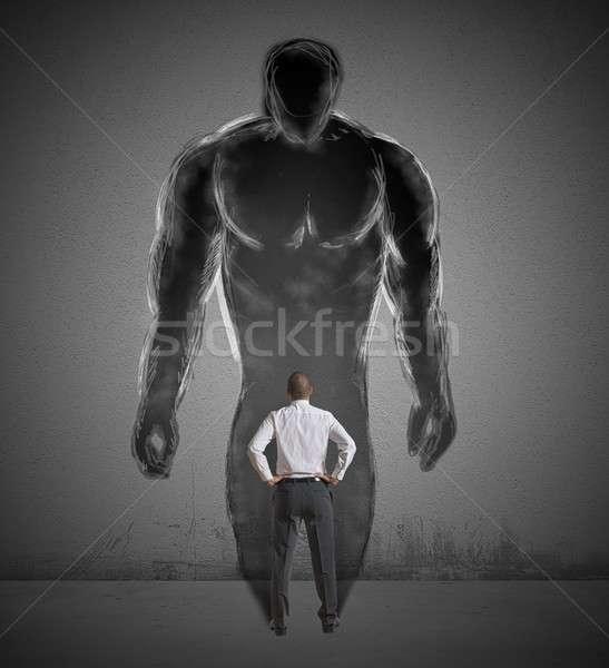 Affaires fort ombre homme travailleur Photo stock © alphaspirit