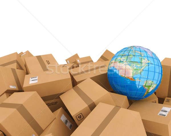 Kapalı karton kutuları 3D Stok fotoğraf © alphaspirit